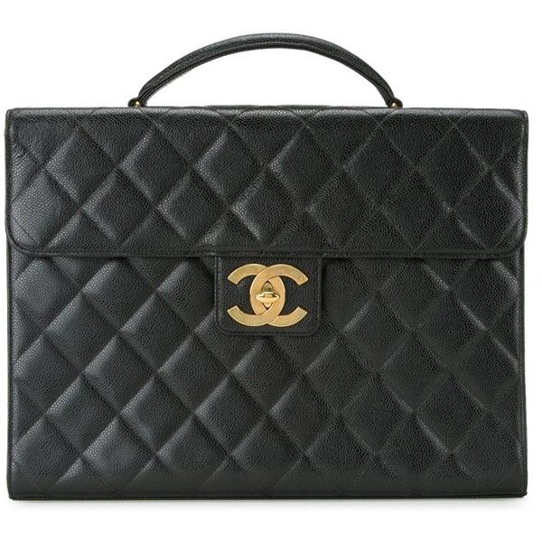 Chanel Vintage quilted briefcase (16.690 BRL) ❤ liked on Polyvore featuring bags, briefcases, briefcase, chanel, handbags and black