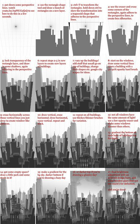 How to sketch up a city quickly ^^ CLICK HERE FOR FULL SIZE. This is a rough re-creation of this sketch since there was interest in how I di...