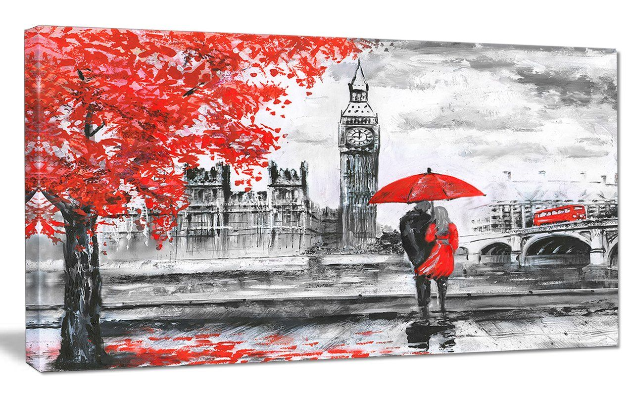 Couples Walking In Paris Painting Print On Wrapped Canvas Wayfair London Painting Wall Art Pictures Art Pictures