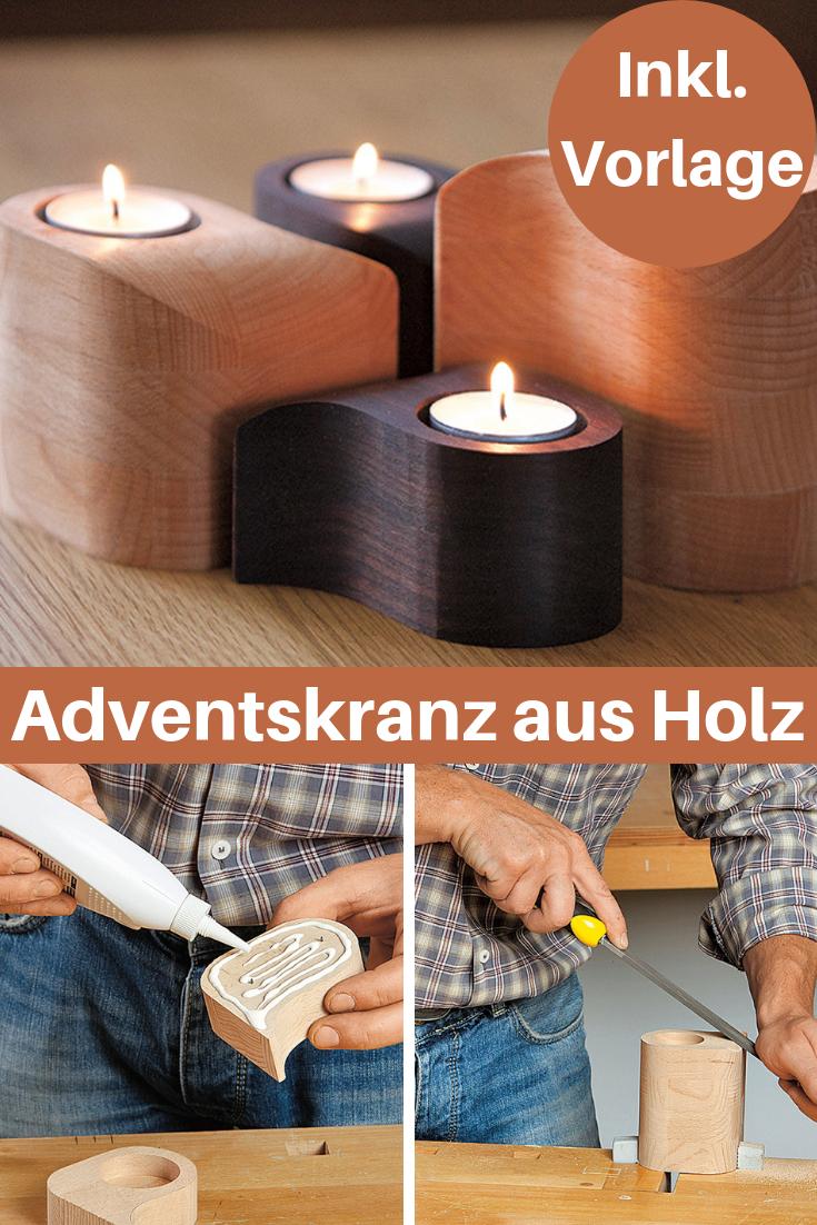 Weihnachtsdeko Holz Modern.Adventskranz Aus Holz Basteln Weihnachtsideen Adventskranz Holz