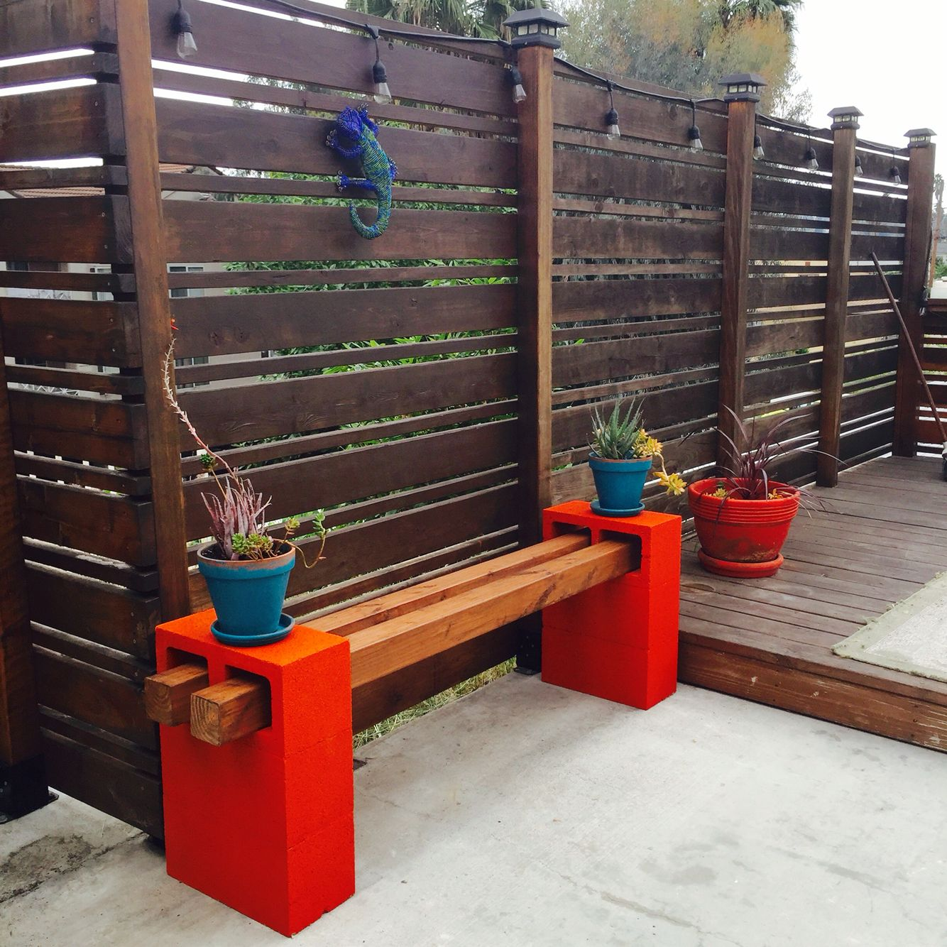 Handmade cinder block bench made by me!!!! | My DIY's | Pinterest ...