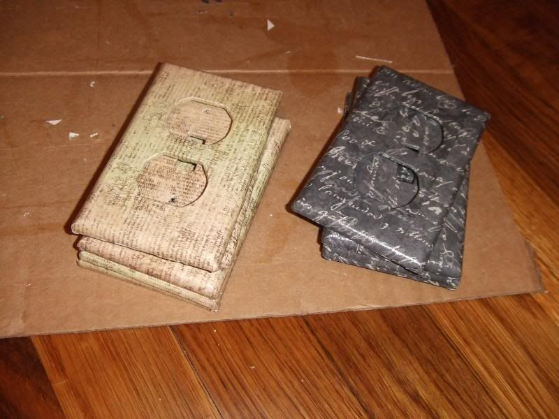 cover your outlet covers in scrapbook paper