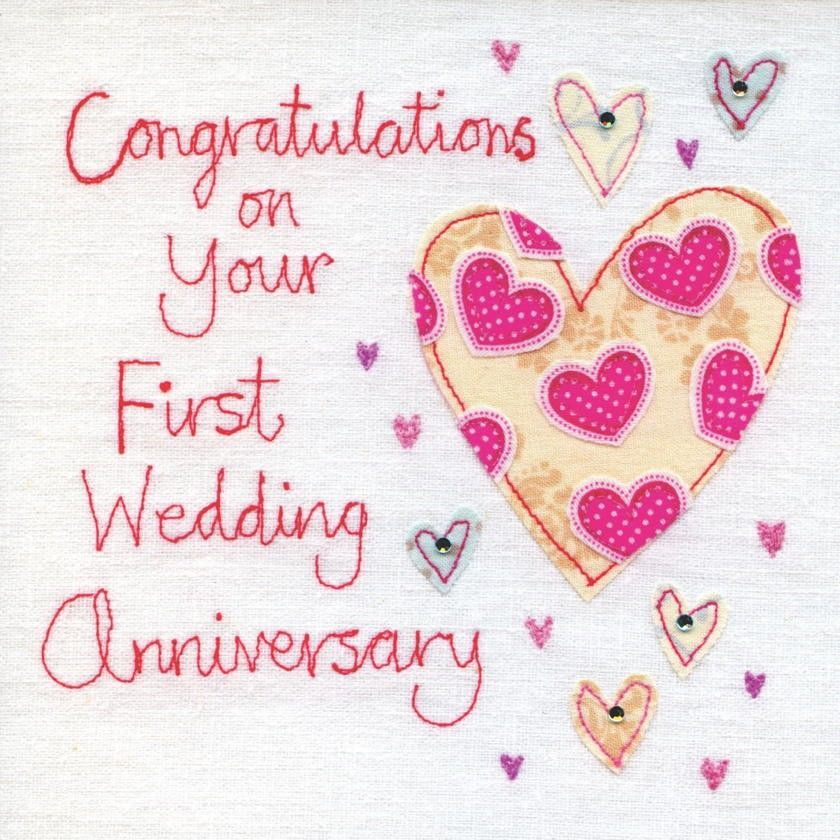 Hand Finished First Wedding Anniversary Card - product image - free printable anniversary cards for her