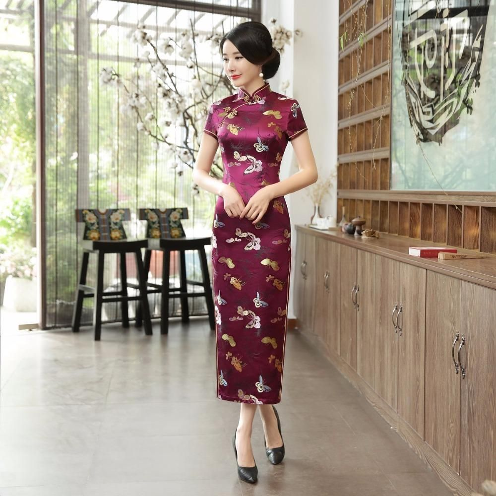 Jx208 Chinese Traditional Clothing Long Qipao Dress Folk Style Faux Silk Cheongsam Oriental Dress Size 20 Special Occasion Dresses Special Occasion Dress Shop F Chinese Dress Oriental Dress Dresses [ 1000 x 1000 Pixel ]