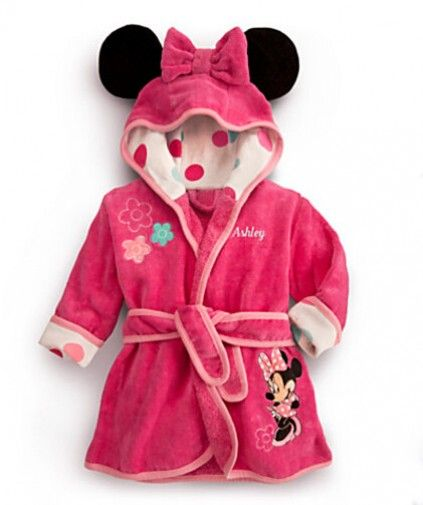 Buy online fashionable pink Minnie Mouse bathrobe comes with a bow and ears  attached hood 2030857d0