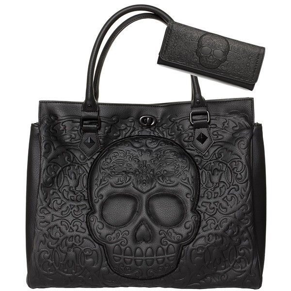 410f1e2570c1 Black Sugar Skull Embossed Detailed Handbag Purse Wallet SET found on  Polyvore featuring polyvore