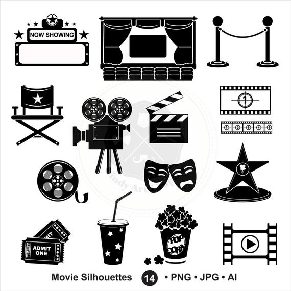 Movie silhouette. Silhouettes clipart cinema