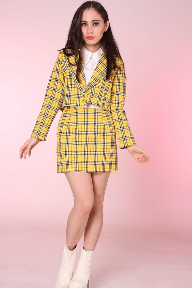 5dde0fa8d Glitters For Dinner — Made To Order - Cher Yellow Tartan Blazer & Skirt Set