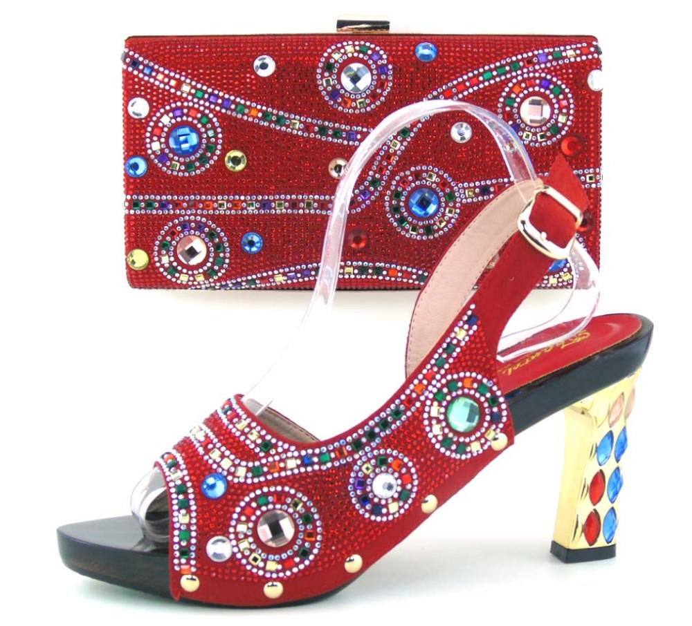 69.69$  Watch here - http://ali4rc.worldwells.pw/go.php?t=32791327627 - Italian Shoes With Matching Bags Shoes And Bag To Match For Party In Women High Quality Stones Pumps African Woman Heels TH16-43 69.69$
