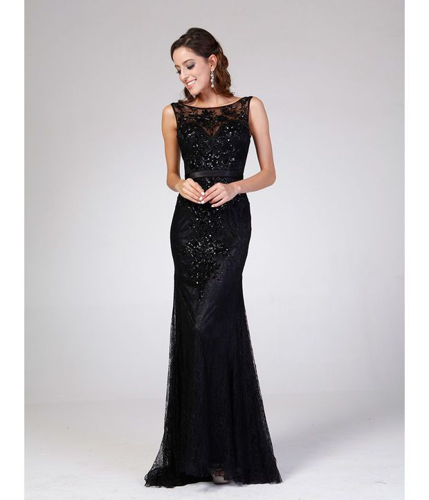 Black Lace Sequin & Embellished Gown 2015 Prom Dresses | Style ...