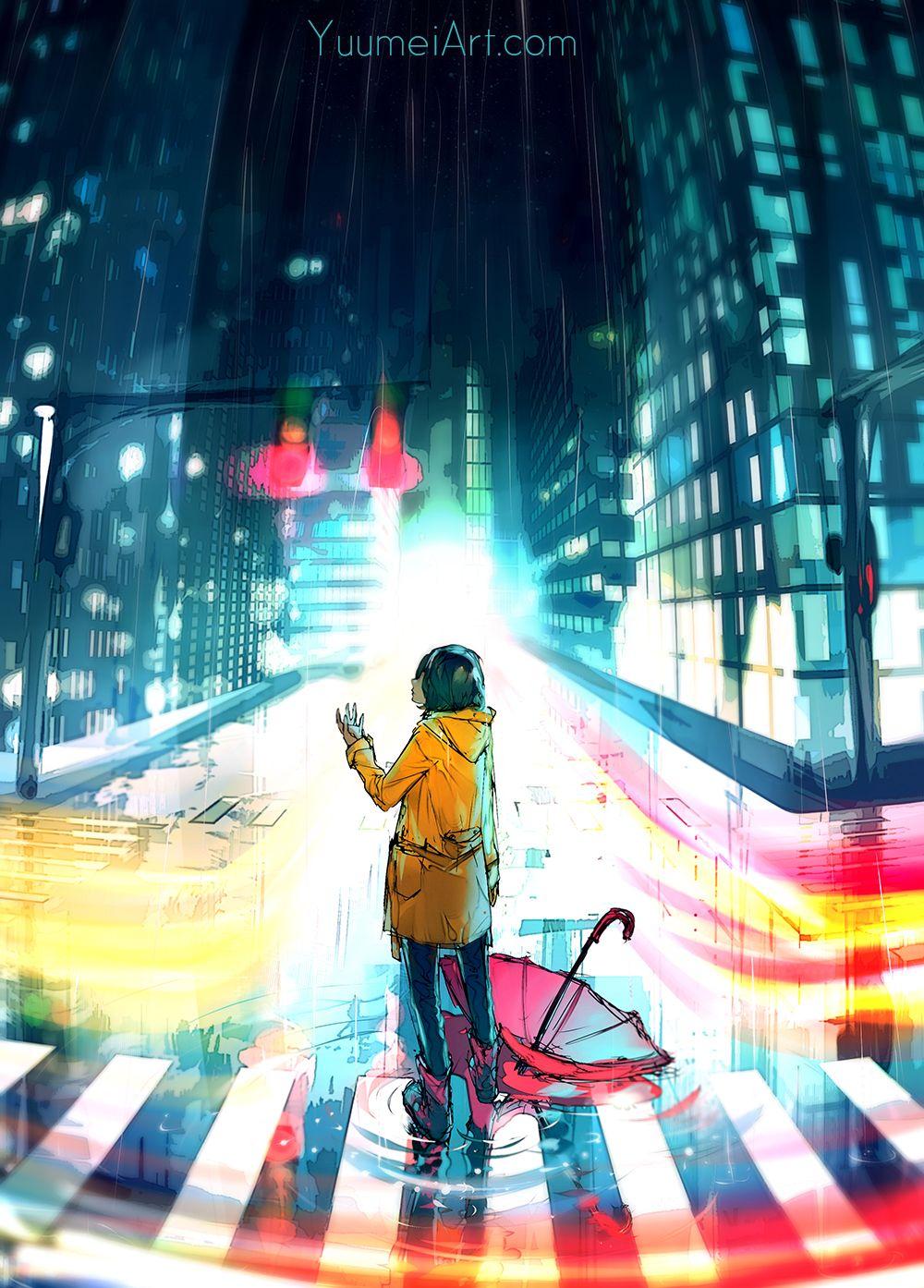 City night speedpaint tutorial video linked by yuumei
