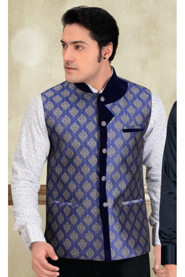 Wedding Wear Readymade Blue Waistcoat For Men - 18417 | Pinterest ...