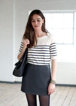 704a3f5a31ee7 Marinière SEZANE   ◊ Dress Code ◊   Pinterest   Jupe, Jupe cuir et ...