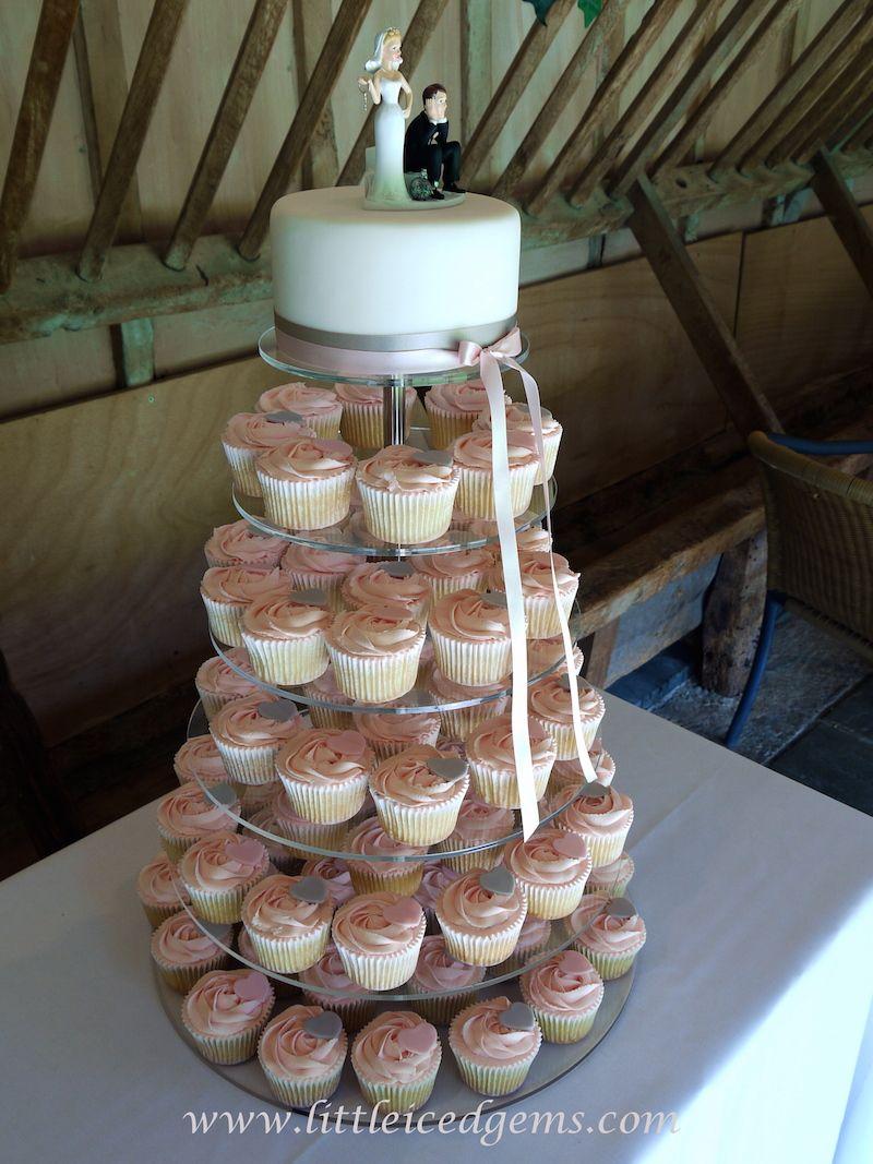Pink and grey wedding cupcake tower - www.littleicedgems.com