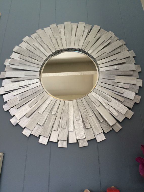 12 Inches Mirror 24 Inches Total Frame Diameter Silver Color Red Wood For The Frame Also Available On Gold Mirror Mirror Gallery Wall Mirror Wall