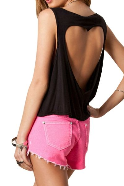 Solid Color Heart Pattern Openwork Tank Top