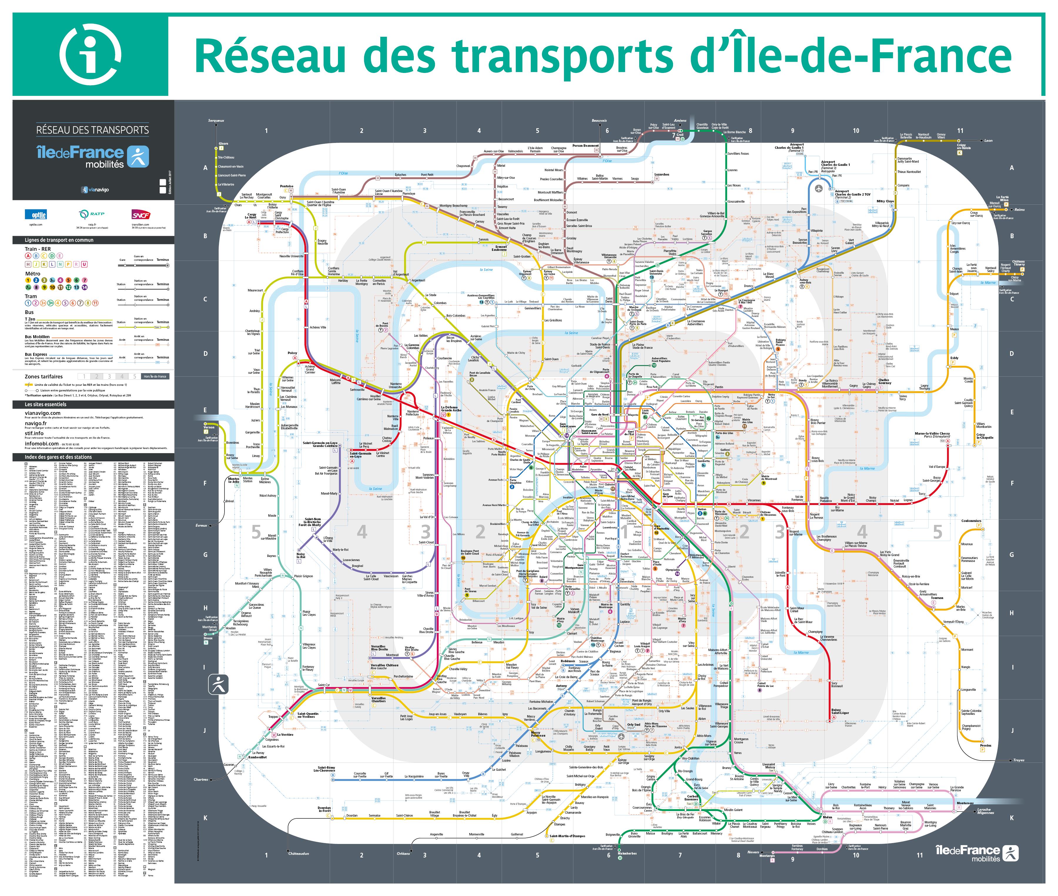 Plan Rer Et Transiliens Ile De France France Paris