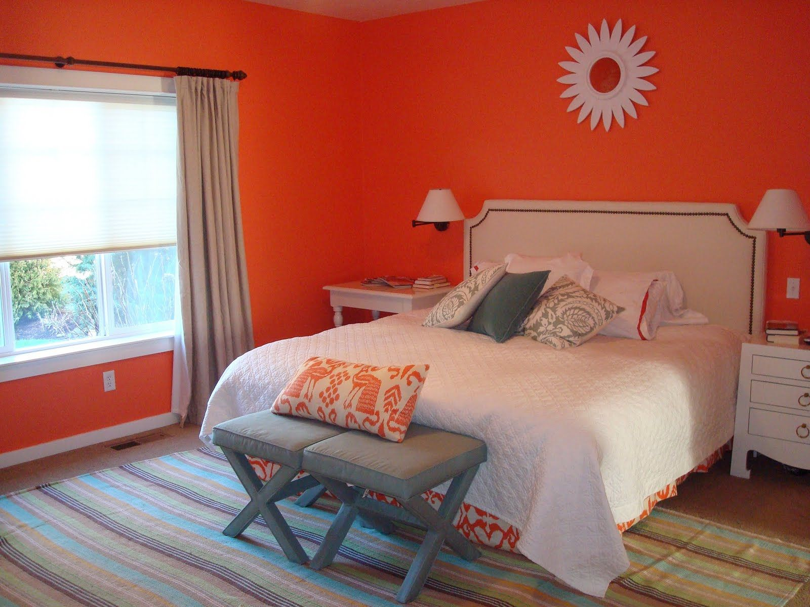 Maybe just one orange wall behind the bes | Master bedroom ...