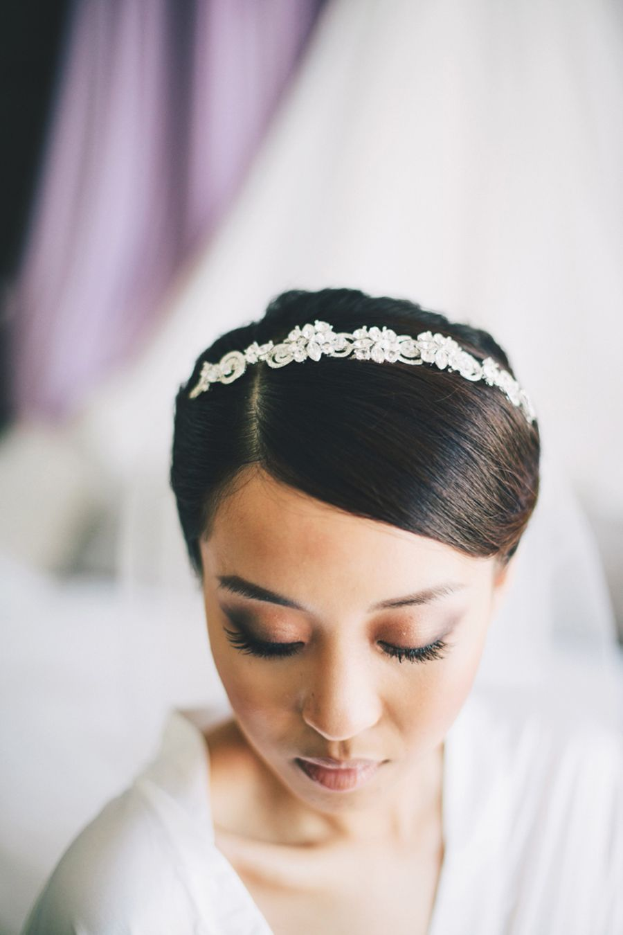 crystal bridal heapiece   chris and jenna's dreamy lavender