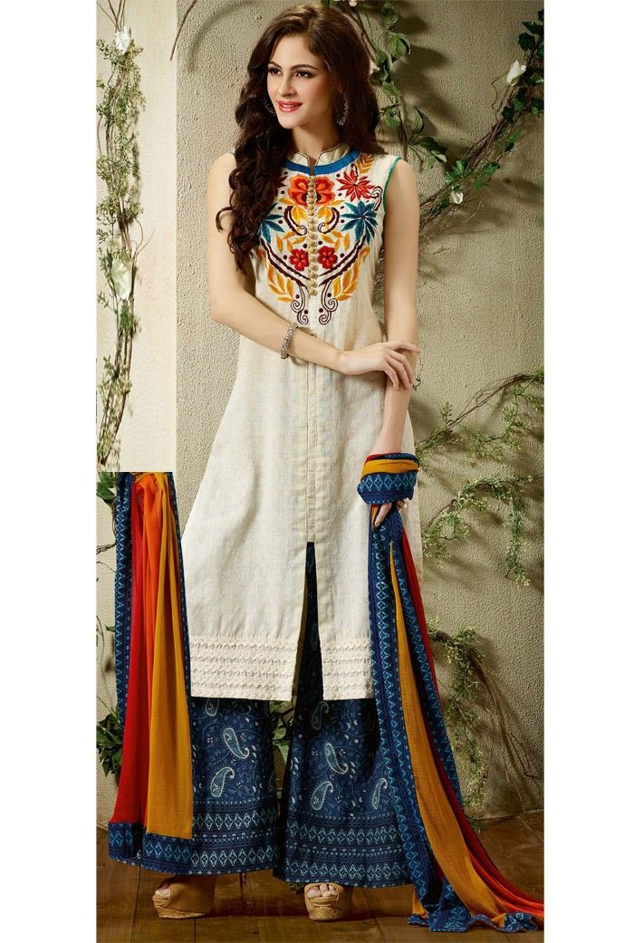 White #Cotton #Palazzo #SalwarKameez with Dupatta | Salwar patterns ...