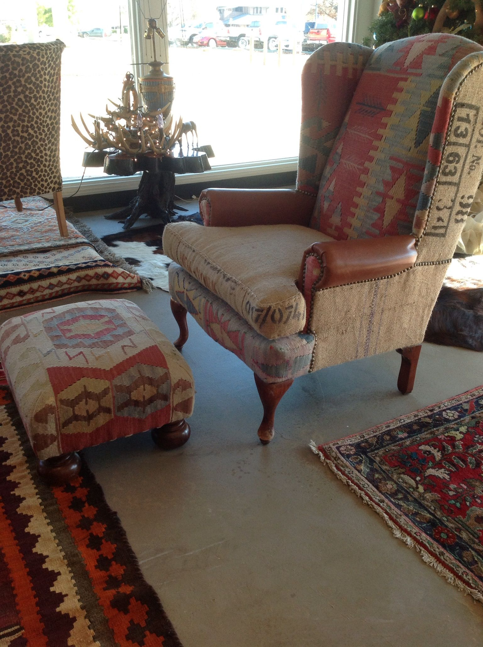 Burlap Kilim Leather Wingback Chair Chairs In 2019