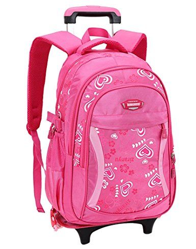 bd77979df84438 Amazon.com | Coofit Rolling Backpack for Girls Kids School Backpack with 6  Wheels (Large, Pink) | Kids' Backpacks