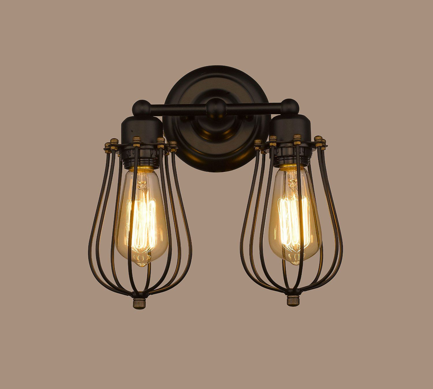 Claxy Ecopower Vintage Style 2 Lights Industrial Black Mini Wire Orlando Cage Retro Sconce Wall Light Brass