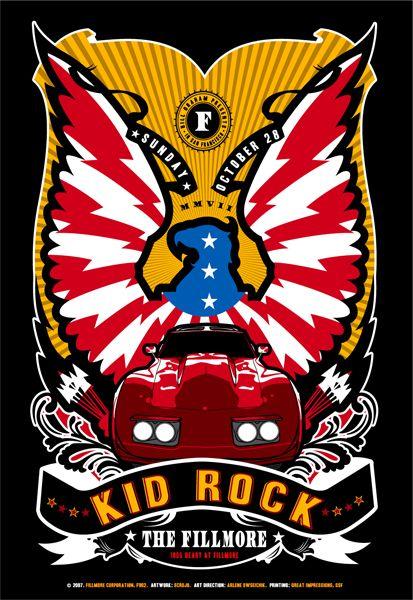 kid rock concert poster art rock posters