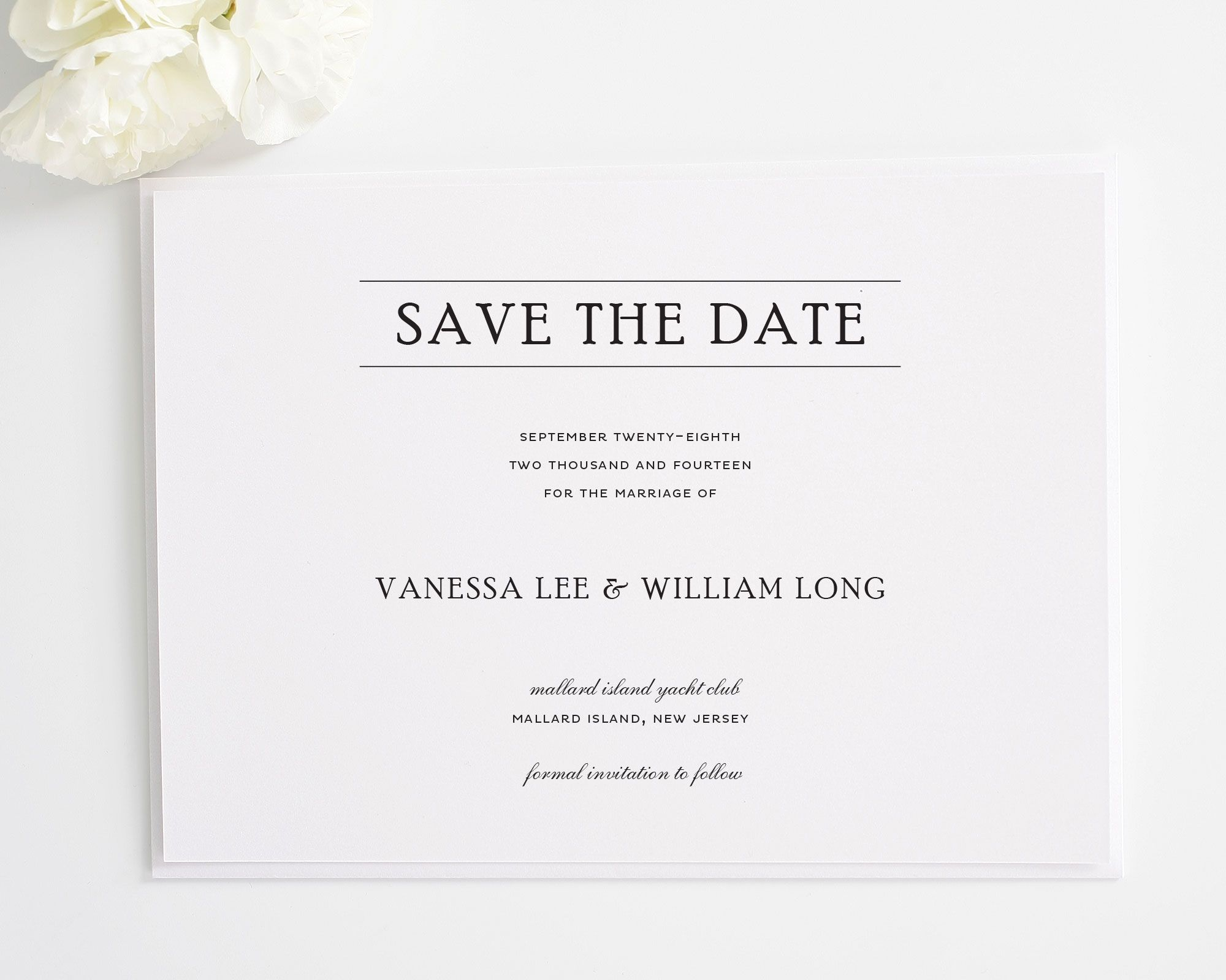 Matching Save The Date And Wedding Invitations: Simple Elegance Save The Date Cards