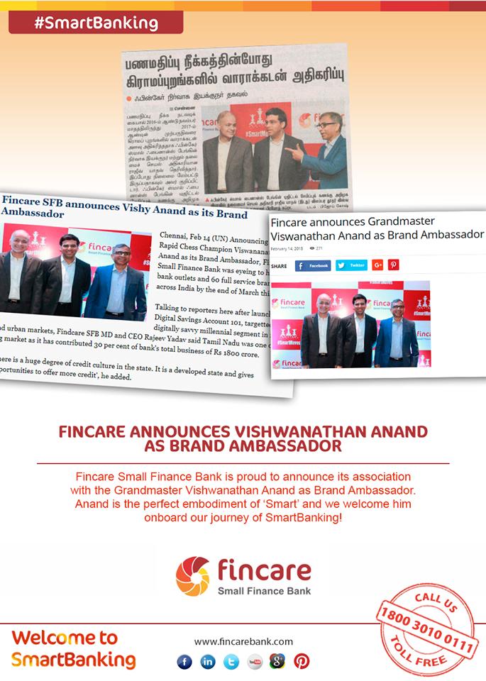 Fincare announces Vishwanathan Anand as Brand Ambassador