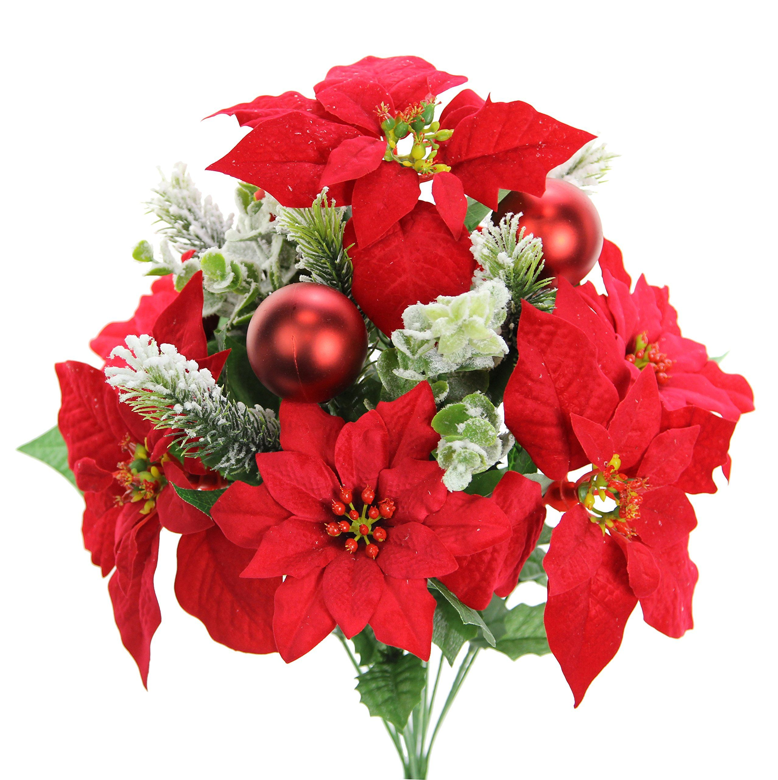 Admired By Nature Gpb7801red 12 Stems Faux Velvet Poinsettia Christmas Bush Red Vi Christmas Floral Arrangements Christmas Floral Christmas Flowers