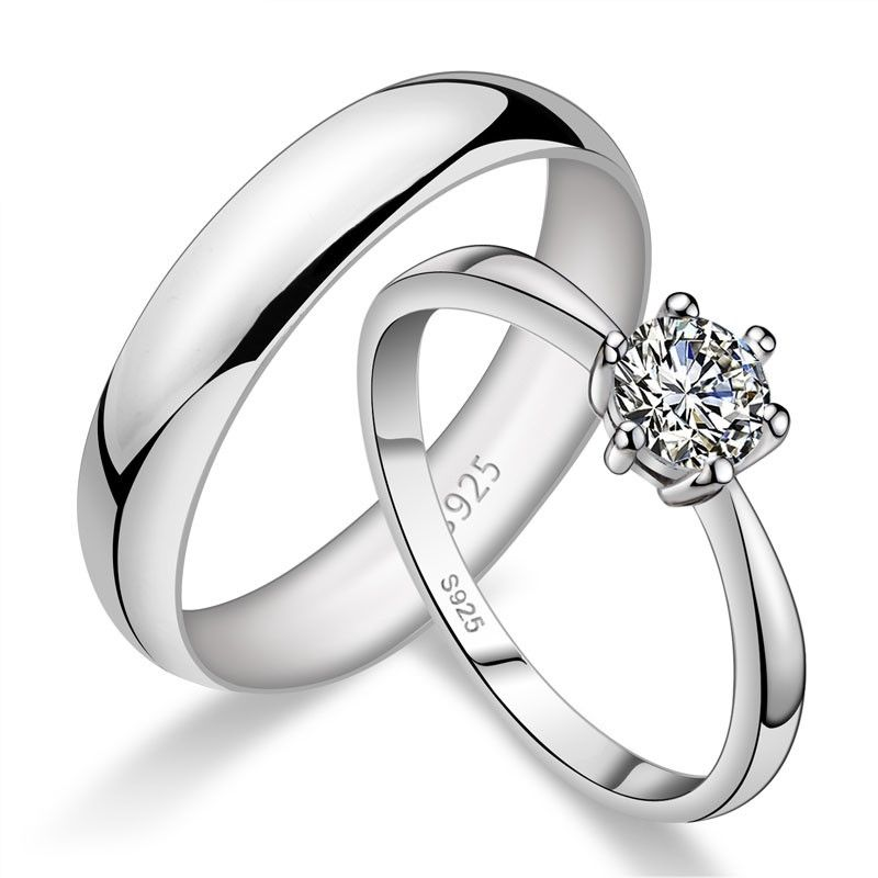 Perfect Valentine S Day Gift 925 Silver Creative Lettering Couple Rings Cheap Wedding Rings Couple Wedding Rings Blue Diamond Engagement Ring