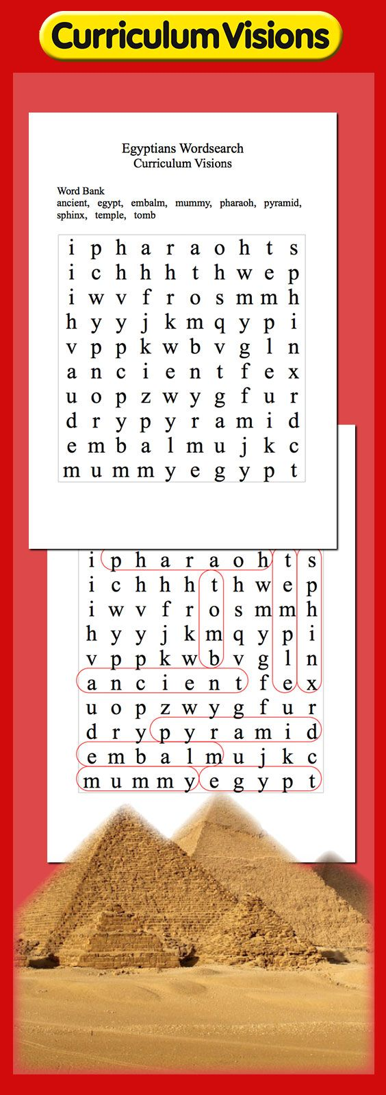 Curriculum Visions Ancient Egyptian wordsearch puzzle