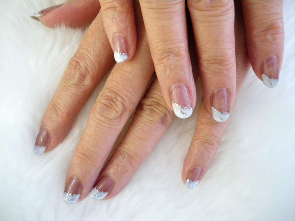 Diagonal French nail art with silver stripes :: one1lady.com ...