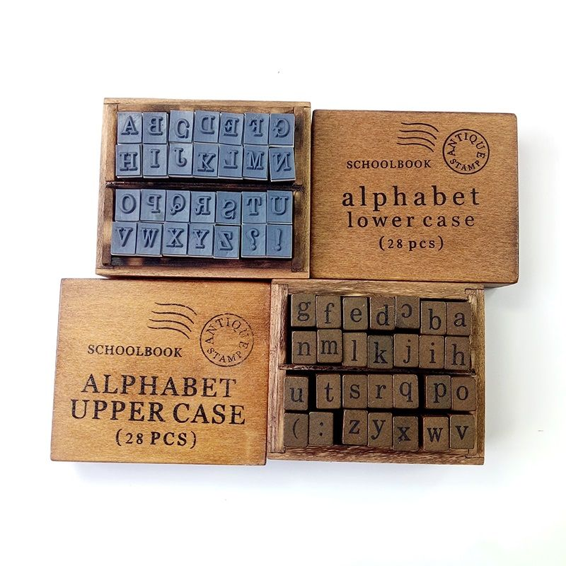 28 Pcs Set Vintage DIY Multi Purpose Alphabet Letter Schoolbook Stamp Wood Rubber Stamps Wooden Box 2 Style Wholesale Affiliate