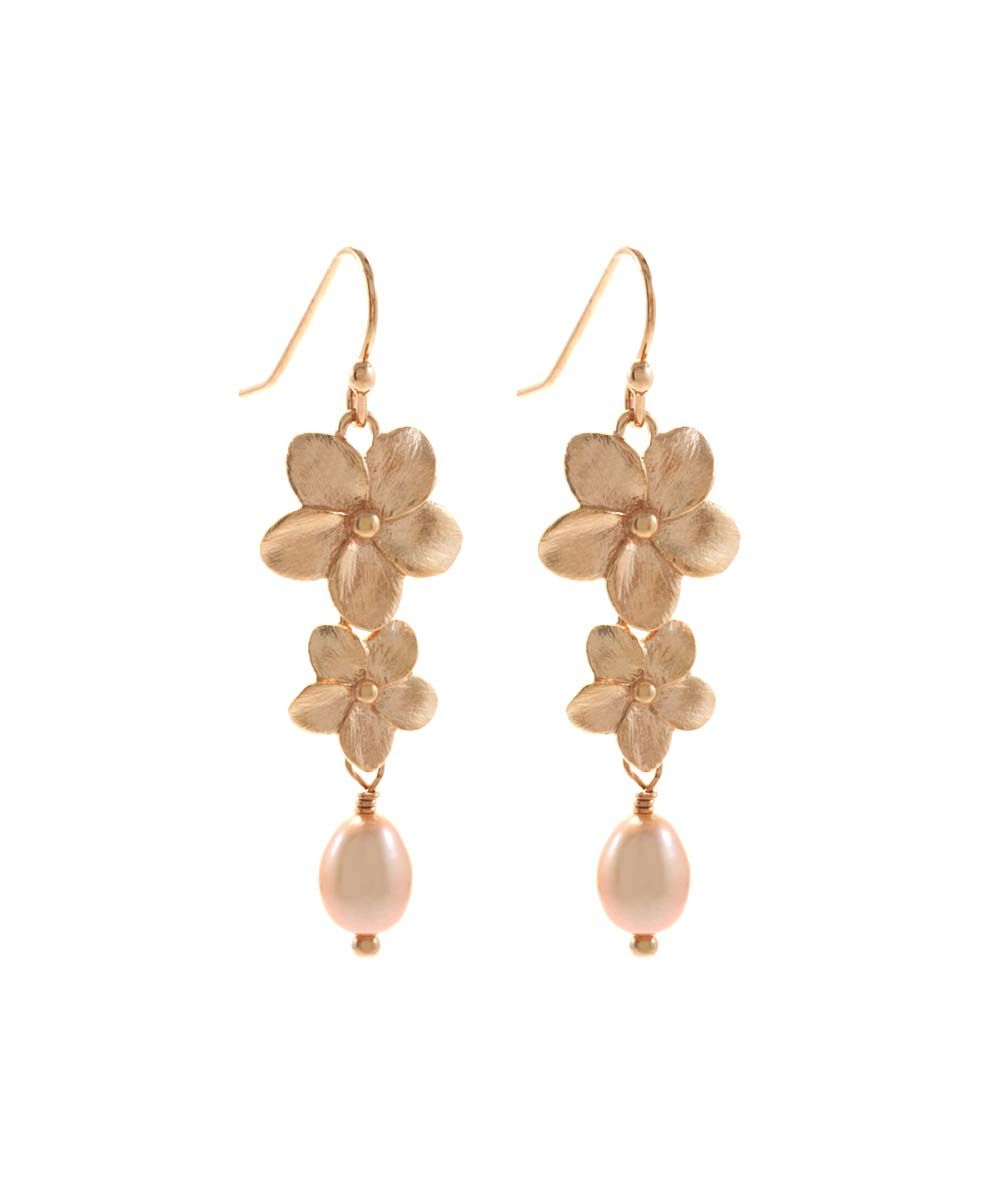 Pink Pearl Rose Gold Two Flower Drop Earrings Drop Earrings Pink Pearl Pearl Rose