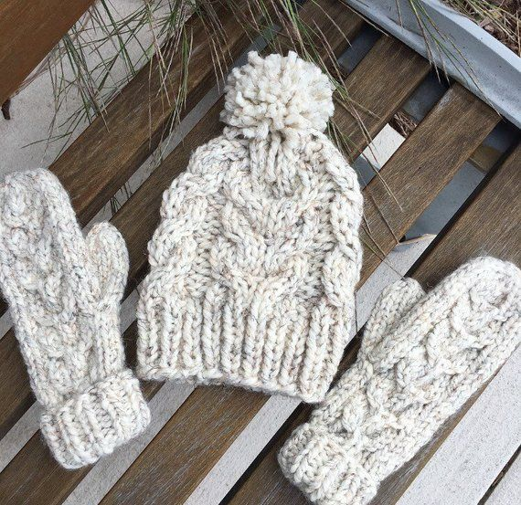a24eb80948d Cable Knit Hat and Mitten Matching Set