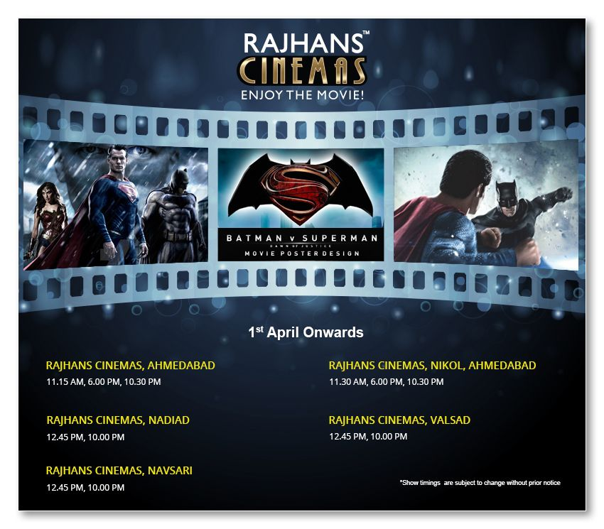 Watch Batman v Superman: Dawn of Justice at Rajhans Cinemas!