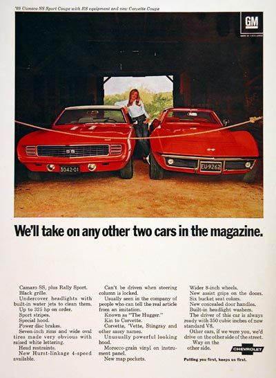 1969 Chevrolet original vintage advertisement. We'll take on any other two cars in the magazine. Features the Camaro SS Super Sport with RS equipment and the new Corvette Coupe. Chevrolet. Putting you first keeps us first.
