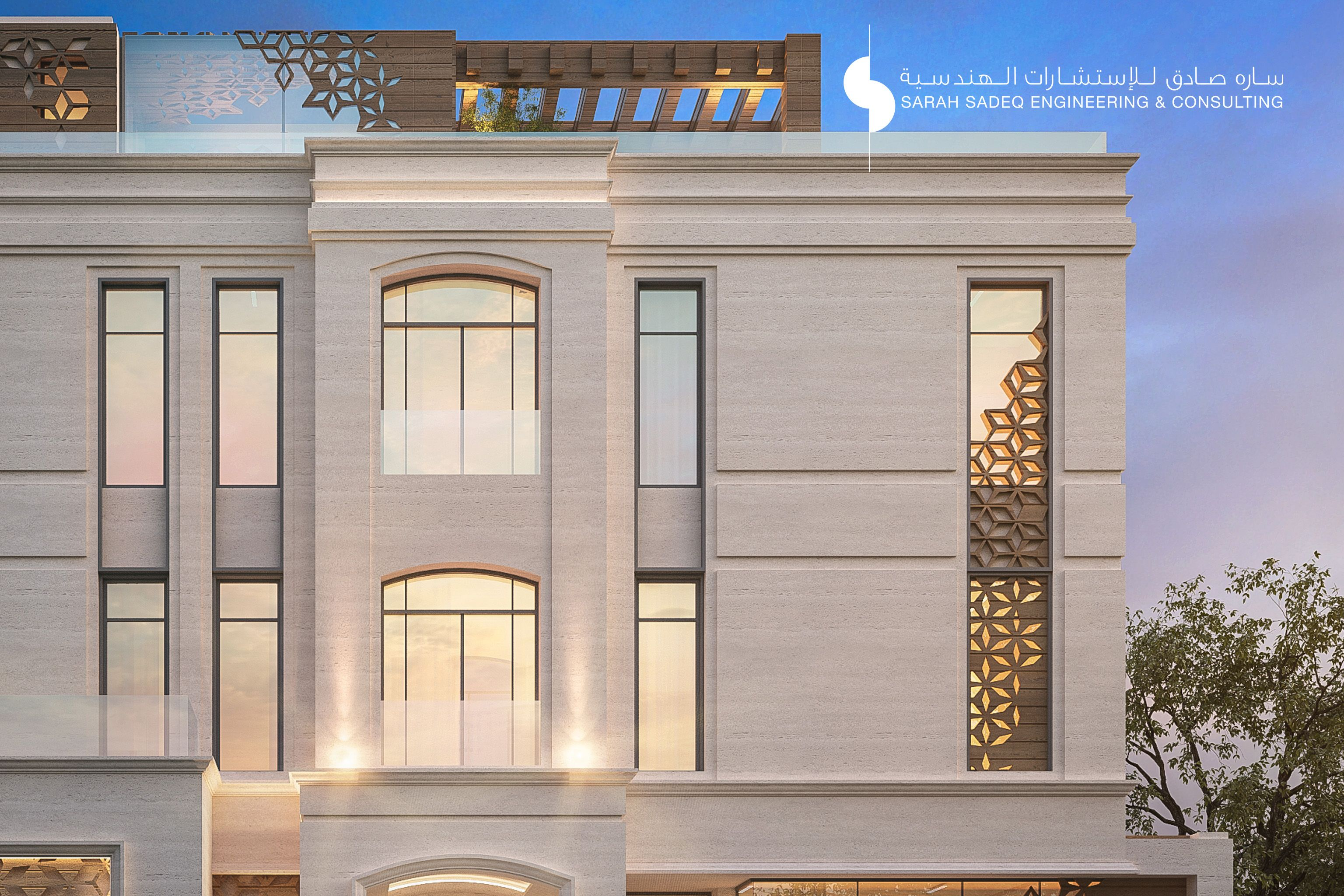 375 m private villa kuwait by sarah sadeq architects for Classic architecture homes