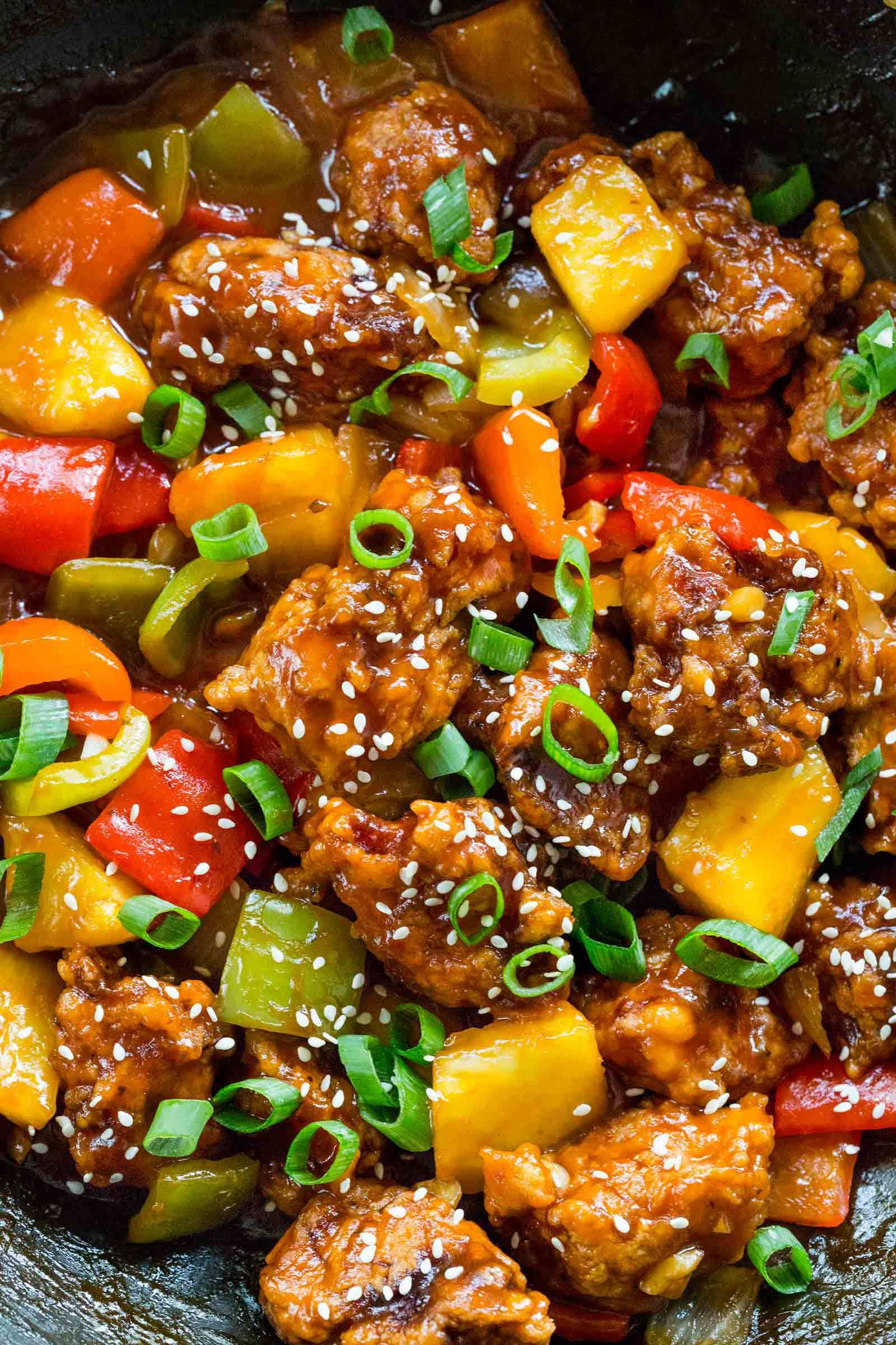 Cucina Wok Sweet And Sour Pork With Vegetables In A Wok Casseroles