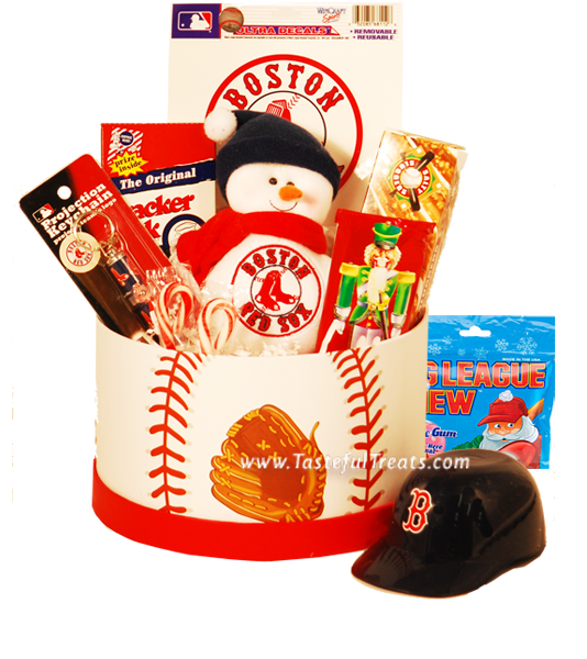 Score a homerun with the Boston Red Sox Christmas Basket - #Christmas Gift #Baskets - #Holiday Gifts