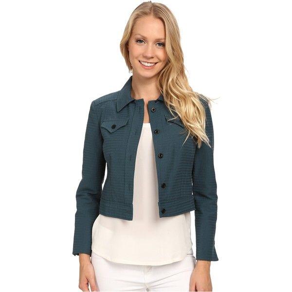 Anne Klein Horizontal Seersucker Jean Jacket Women's Coat, Green ($85) ❤ liked on Polyvore featuring outerwear, jackets, green, long sleeve jacket, jean jacket, cropped denim jacket, blue denim jacket and green jean jacket