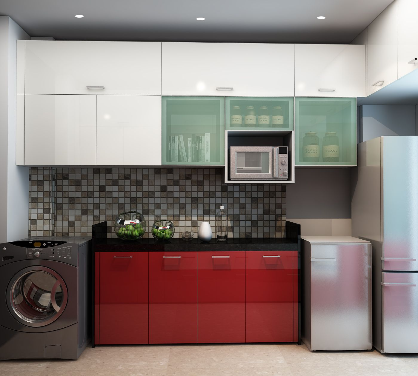 Cabinets In Red For A Pop Of Colour And To Break The Monotony Modern Kitchen Cab Modern Kitchen Cabinet Design Modular Kitchen Cabinets Kitchen Cabinet Design