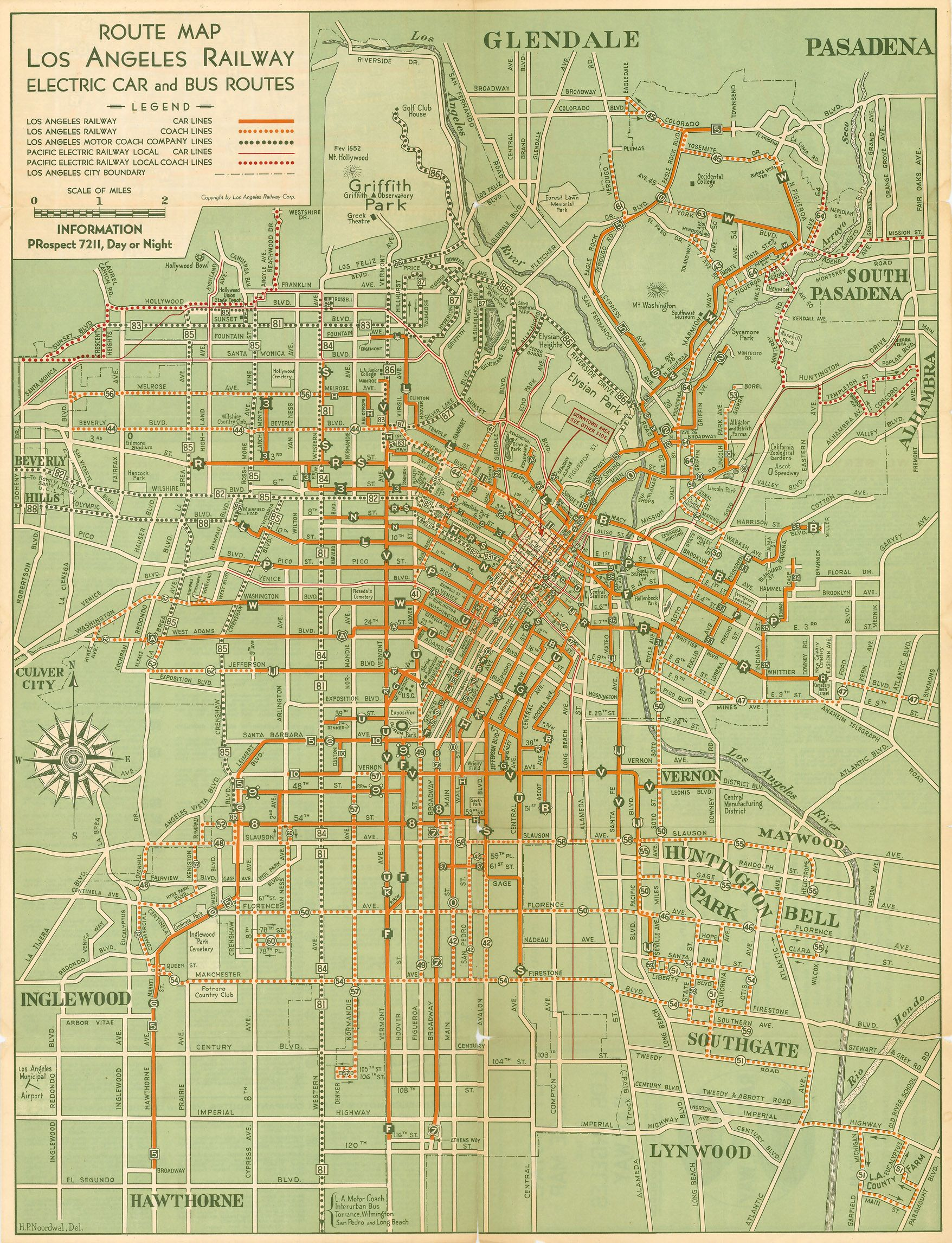 Los Angeles Electric Rail Car Map Map Route Map Los Angeles Map