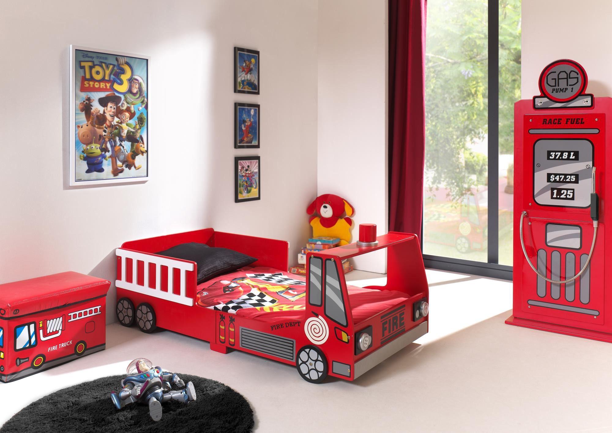 Lit camion de pompier enfant moderne heroes lit enfant Idee deco chambre garcon pompier