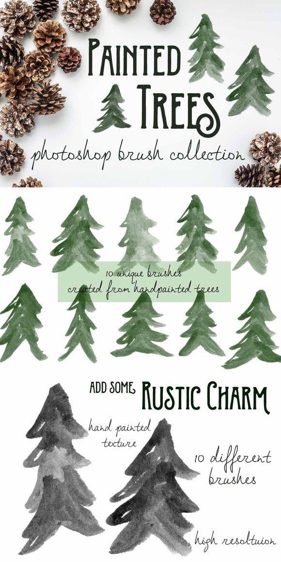 Painted Pine Trees Ps Brushes Photoshop Brushes Tree Photoshop Painting