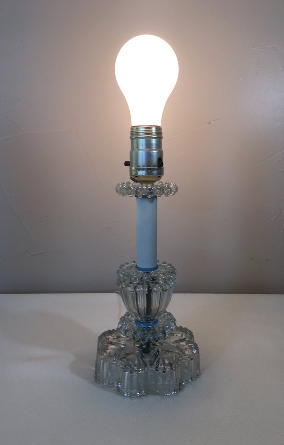 Vintage Boudoir Lamp 10 Quot Tall Pressed Clear Glass Bedroom