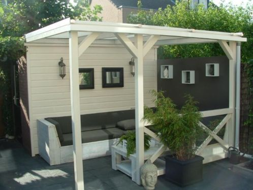 Pin van anneke van den berg op veranda pinterest tuin buitenleven en tuin idee n - Pergola dak platte ...