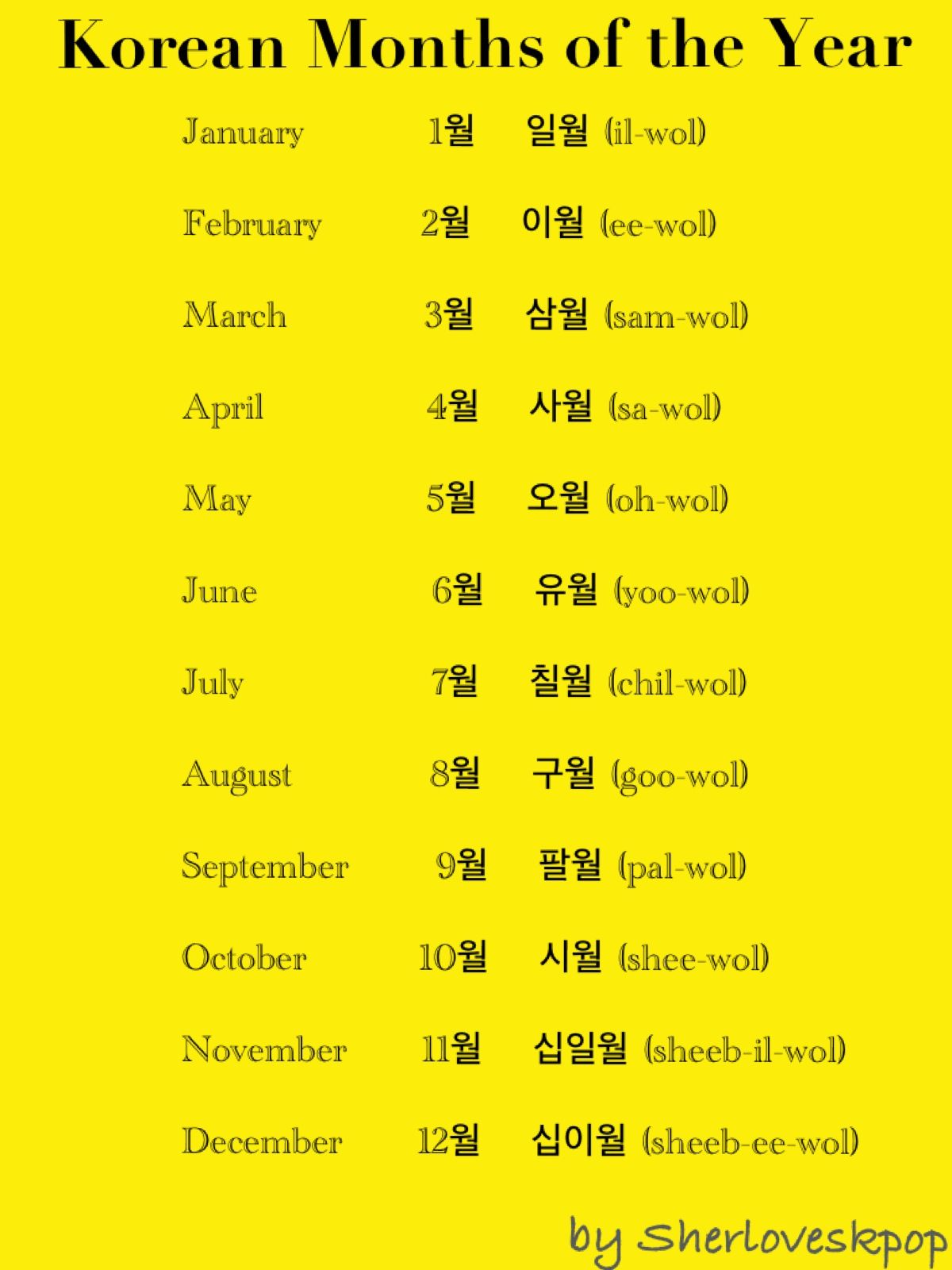 Korean months of the year i didnt realize it was this